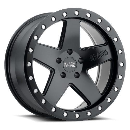 BLACK RHINO CRAWLER 20×9.5 6/139.7 ET12 CB112.1 MATTE BLACK W/SILVER BOLTS