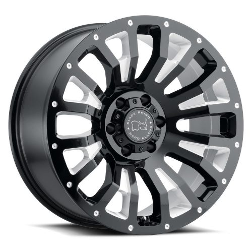 BLACK RHINO PINATUBO 22×12.0 6/139.7 ET-44 CB112.1 GLOSS BLACK W/MILLED INSIDE WINDOW