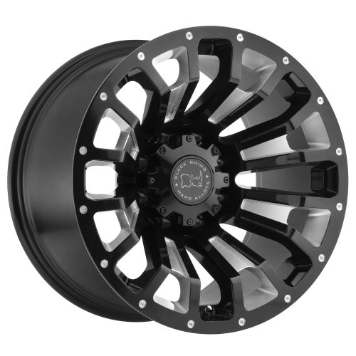 BLACK RHINO PINATUBO 22×12.0 8/180 ET-44 CB125.1 GLOSS BLACK W/MILLED INSIDE WINDOW