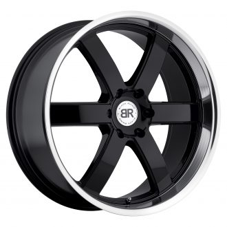 BLACK RHINO PONDORA 24×10.0 6/139.7 ET25 CB112.1 GLOSS BLACK W/MIRROR MACHINE CUT LIP