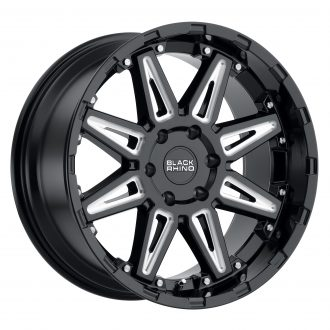 BLACK RHINO RUSH 20×9.5 6/120 ET12 CB67.1 GLOSS BLACK W/MILLED SPOKES