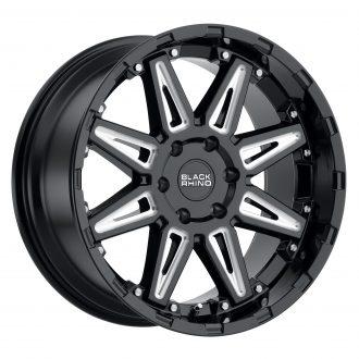 BLACK RHINO RUSH 20×9.5 6/120 ET12 CB67.1 GLOSS BLACK W/MILLED SPOKES