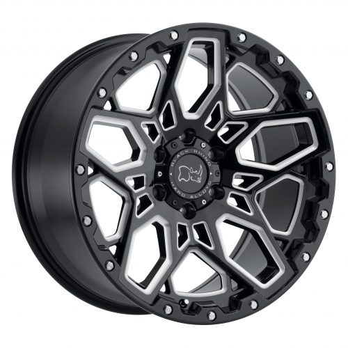 BLACK RHINO SHRAPNEL 20×9.5 6/139.7 ET12 CB112.1 GLOSS BLACK W/MILLED SPOKES