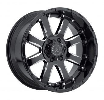 BLACK RHINO SIERRA 20×9.0 6/120 ET12 CB67.1 GLOSS BLACK W/MILLED SPOKES