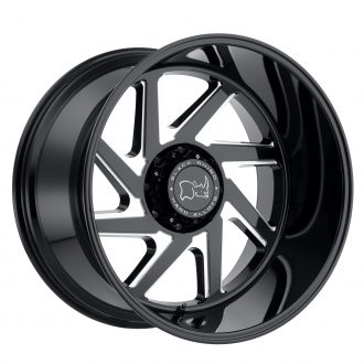 BLACK RHINO SWERVE  24×14 8/180 ET-76 CB125.1 GLOSS BLACK W/DOUBLE MILLED SPOKES