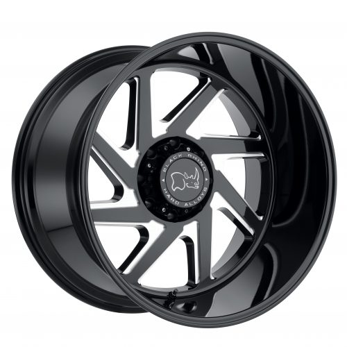 BLACK RHINO SWERVE  24×14 6/135 ET-76 CB87.1 GLOSS BLACK W/DOUBLE MILLED SPOKES