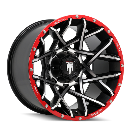 AMERICAN TRUXX AT1901-21291BM-BL AMERICAN TRUXX GRIDLOCK AT1901 BLACK/MACHINED/RED BEADLOCK 20X12 8-165.1 -44MM 125.2MM WHEELS