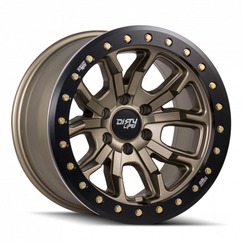 DIRTY LIFE DIRTY LIFE DT-1 9303 SATIN GOLD W/SIMULATED BEADLOCK RING 17X9 6-139.7 -38MM 106MM WHEELS