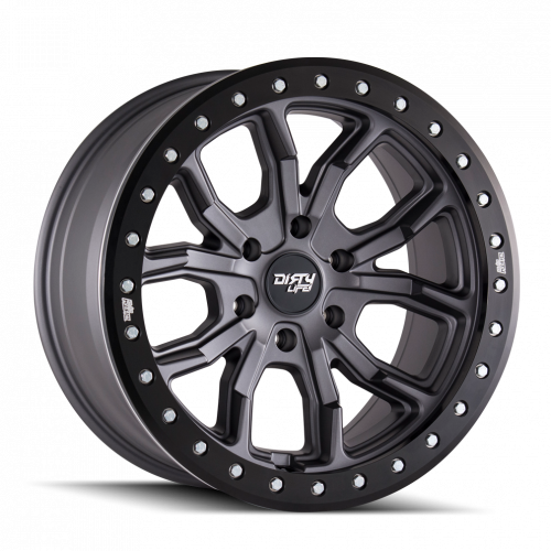 DIRTY LIFE DIRTY LIFE DT-1 9303 MATTE GUNMETAL W/SIMULATED RING 17X9 6-139.7 -12MM 106MM WHEELS