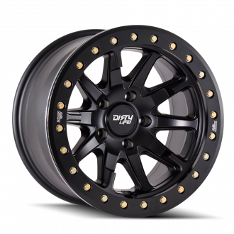 DIRTY LIFE DIRTY LIFE DT-2 9304 MATTE BLACK W/SIMULATED RING 17X9 6-139.7 -12MM 106MM WHEELS