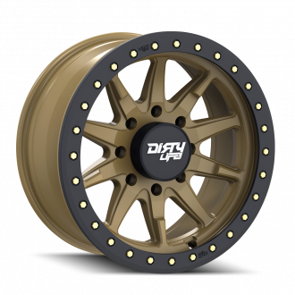 DIRTY LIFE DIRTY LIFE DT-2 9304 SATIN GOLD W/SIMULATED RING 17X9 8-165.1 -12MM 130.8MM WHEELS