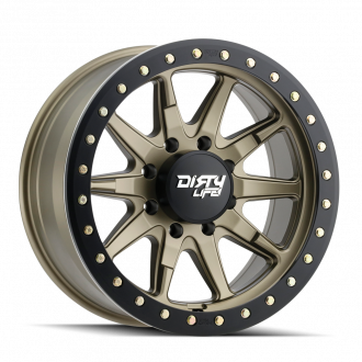 DIRTY LIFE DIRTY LIFE DT-2 9304 SATIN GOLD W/SIMULATED BEADLOCK RING 17X9 6-139.7 -12MM 106MM WHEELS