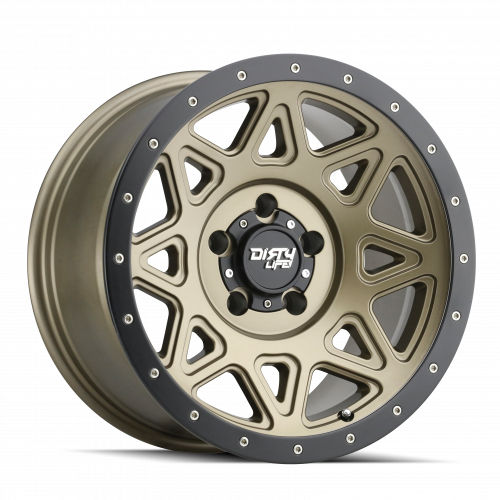 DIRTY LIFE DIRTY LIFE THEORY 9305 MATTE GOLD W/MATTE BLACK LIP 17X9 8-165.1 -12MM 130.8MM WHEELS
