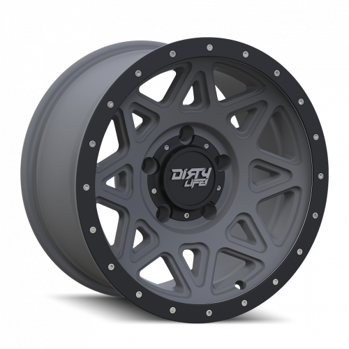 DIRTY LIFE DIRTY LIFE THEORY 9305 MATTE GUNMETAL W/MATTE BLACK LIP 17X9 8-165.1 -12MM 130.8MM WHEELS